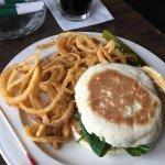 Lamb burger w onion rings