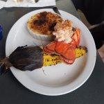 Lobster tail, corn, chorizo mac & cheese
