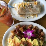 Superb Bloody Mary. Best Bfast Burrito Ever. Veggie Omelette with bacon added. YUM