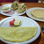 ham & cheese omelet, pancakes and chaya jacks