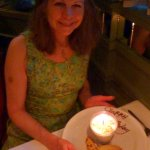 Cynthia & her birthday Lemon Mousse with candied lemon rind.