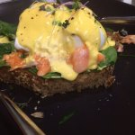 Poached Eggs with Salmon on a THICK piece of toast:-)