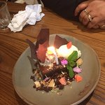 The surprise that greeted us when Flame celebrated with us. Thank you Flane Restaurant:-)