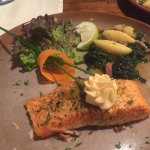 Baked salmon with gnocchi and spinash