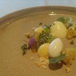 Almalfi lemon textures, pistachio, olive oil and creme fraiche