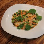 Dinner Menu: Butternut Squash carpaccio with parmesan, fresh peas, broad beans and wild nasturti