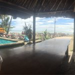Great social area!  Photo is me sitting at one of the long tables overlooking the pool and ocean