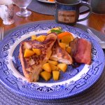 One of the breakfasts served was Peach stuffed french toast with house smoked bacon Yum !!!