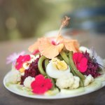 The most beautiful salad I've seen in my life. All vegetables and flowers come from their own ga