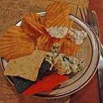 Part of app - artichoke dip, bacon & blue dip and house made chips