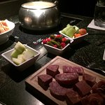 The cheese fondue course - with added meat