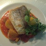My lunch today of hake, new potatoes and caponata
