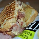 Grilled pimento cheese and ham sandwich