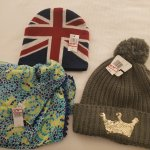 I found a British flag hat, a crown winter hat & a Mickey patterned scarf, each steeply discount