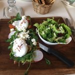 Open avocado with poached eggs! So good I came back the next day to have it again. My wife and I
