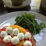 Goat cheese and peppers lovely in coffee shop
