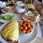 Lobster Omelette & Prosciutto Omelette with Avocado slices & Sweet potato tater tots!