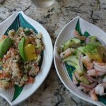 Quinoa and shrimp ceviche from the lunch time Ceviche restaurant near the luxury pool