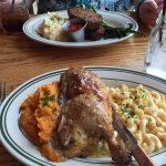 1/2 chicken (foreground); meatloaf (background)