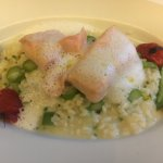 Packed salmon and asparagus risotto