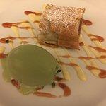 Phyllo-wrapped rhubarb w/ herb ice cream. OMG Incredible!
