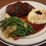 Meat Loaf with Green Beans Onions & Bacon with Mashed Potatoes & Gravy