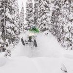 Guide Aaron Bernasconi pillow popping in Quartz Creek with Golden Snowmobile Rentals.  PC: Tim G