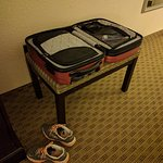 The only luggage stand, suitable only for a small bag.