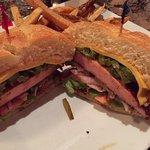 Blackened bologna sandwich