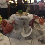 Tower of seafood, build your own. Dry ice for effect... Delicious