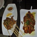 Sattay Sampler, Glazed Fried Chicken, Indonesian-style fried rice