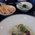 Barramundi, Pea Salad, shoestring fries
