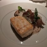 Overly-salty halibut with oyster.
