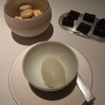 (Sadly) The highlight of my meal: lime sorbet, macarons, chocolates.