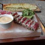 Tuna, parmesan potatoes and Oxaca drink