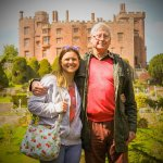 My daughter and I in the gardens with Powis Castle in the background