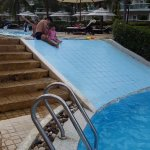 ...with a gentle slide to the lower level of the pool too!