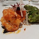 Tiger prawn and monkfish. Perfectly cooked and prepared, delicious.