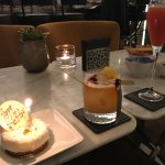 Amaretto Sour and birthday cheesecake