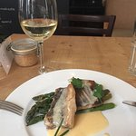The fish special, with asparagus and smoked butter. Delish!