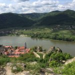 View of Durnstein and the Danube from atop the ruins