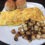 Ham and Cheese Omelette, hash browns, Crack Barrel style biscuits