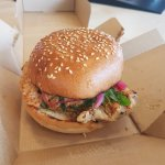 Chicken Satay Burger - cooked, boxed and delivered within 30mins