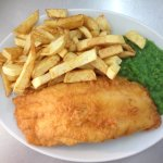 special meal. cod chips peas tea and bread and butter.available in three sizes in the restaurant