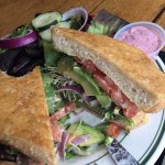 Parmesan encrusted sourdough sandwich and salad - YUM
