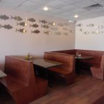 booths and fish wall