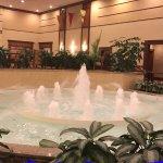 Fountain in hotel lobby.