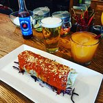 """Wet"" burrito with a red pepper margarita."