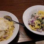Carbonara (on the left), Paccheri Luganica Pasta (on the right)