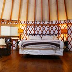 Inside our yurt